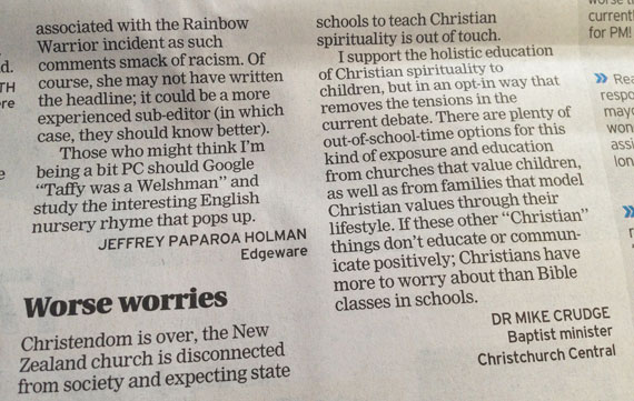 Letter-to-the-editor-Christendom-is-over-Bible-in-schools-570
